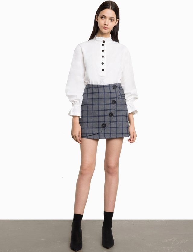 Pixie Market Peyton Plaid Button Skirt