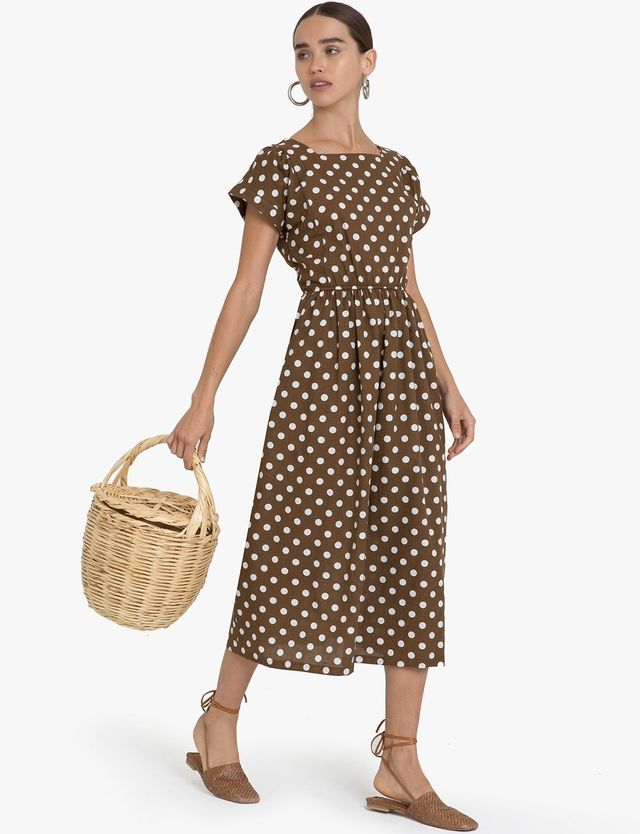 Pixie Market Brown Polka Dot Midi Dress