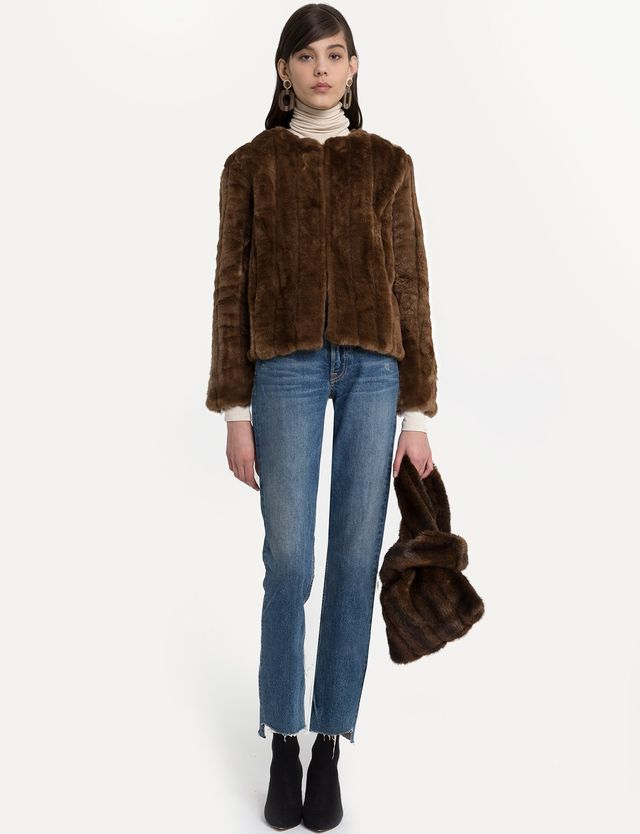 Pixie Market Lined Mink Faux Fur Jacket