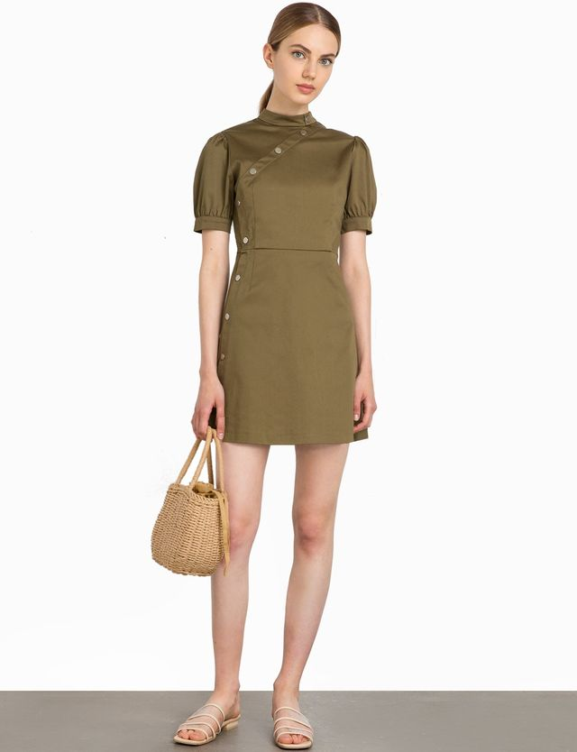 Pixie Market Olive Snap Button Dress