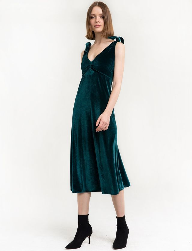 Pixie Market Emerald Velvet Shoulder Tie Dress