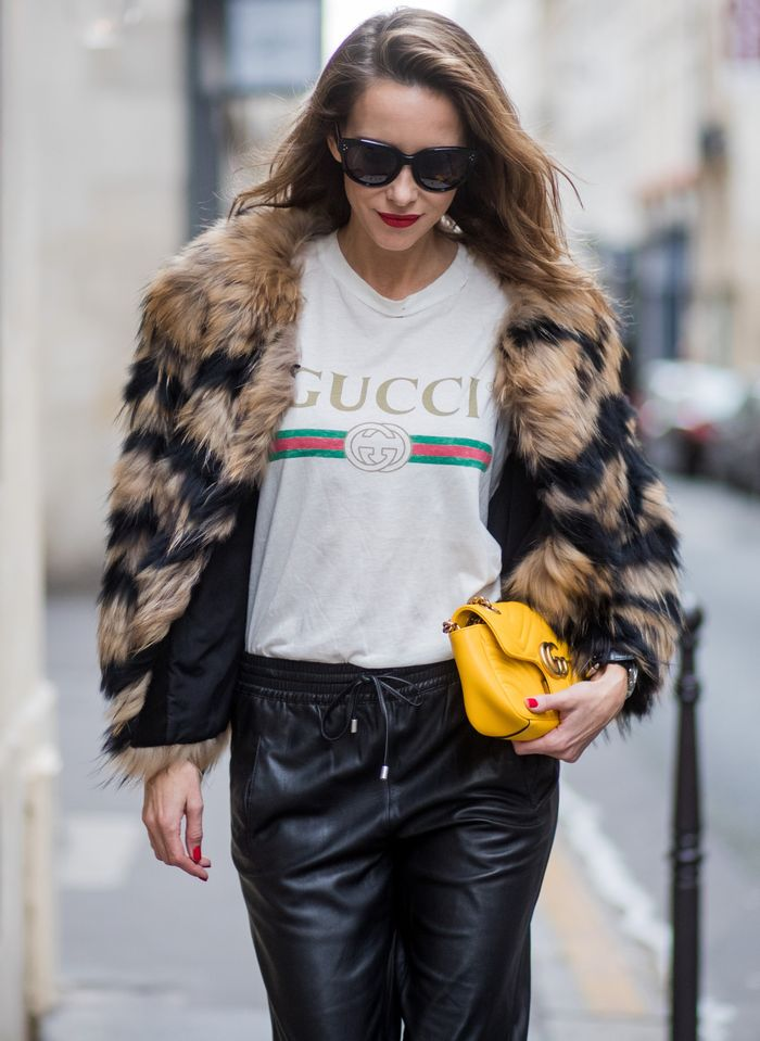 Gucci T-shirt with leather pants