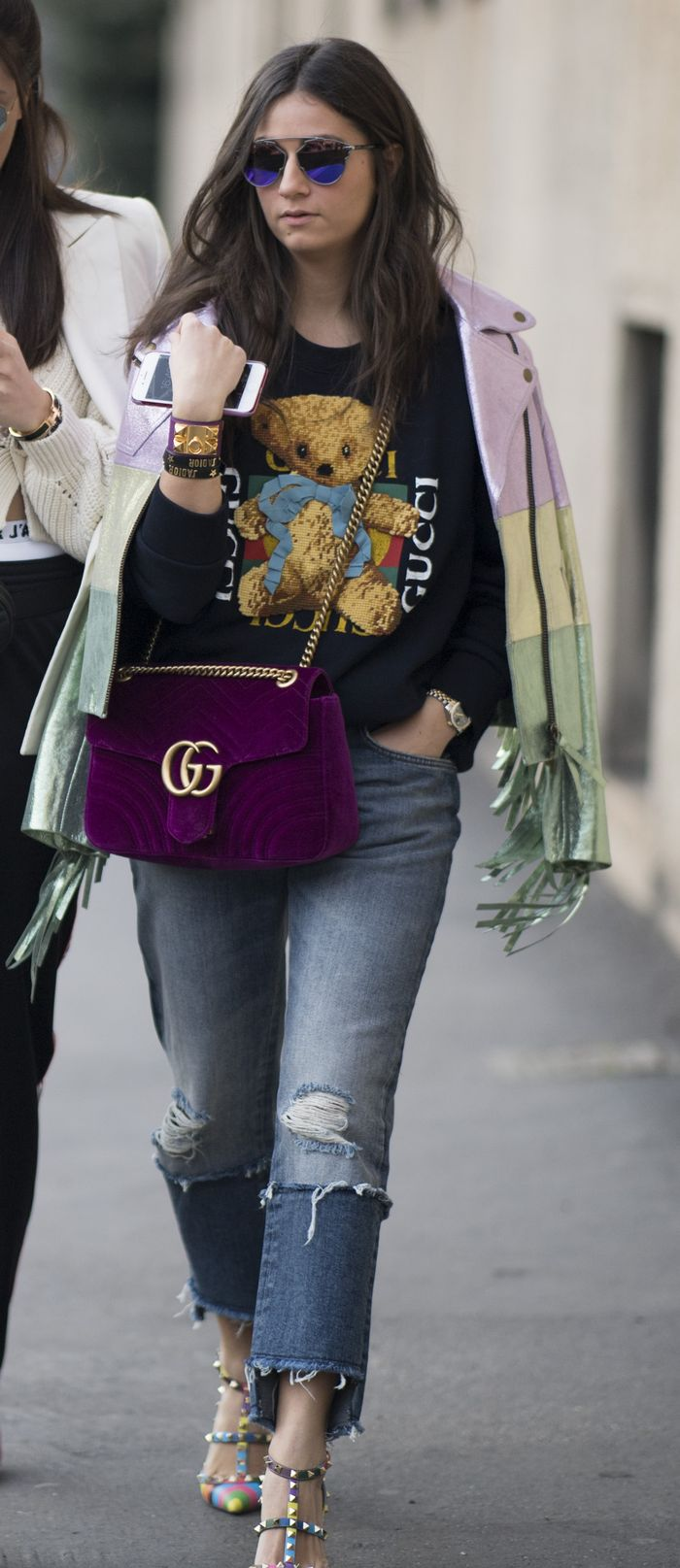 Gucci T-shirt with a colorful jacket