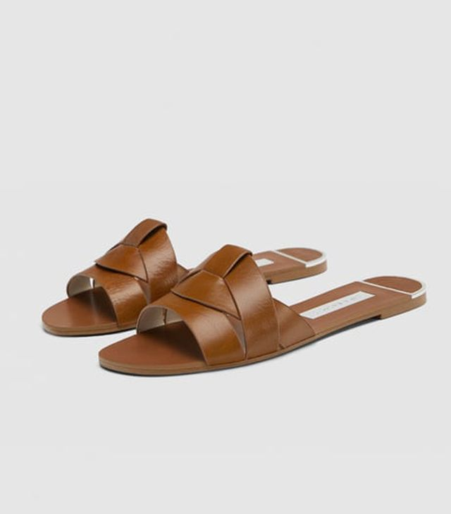 Zara crossover leather sandals: Tan