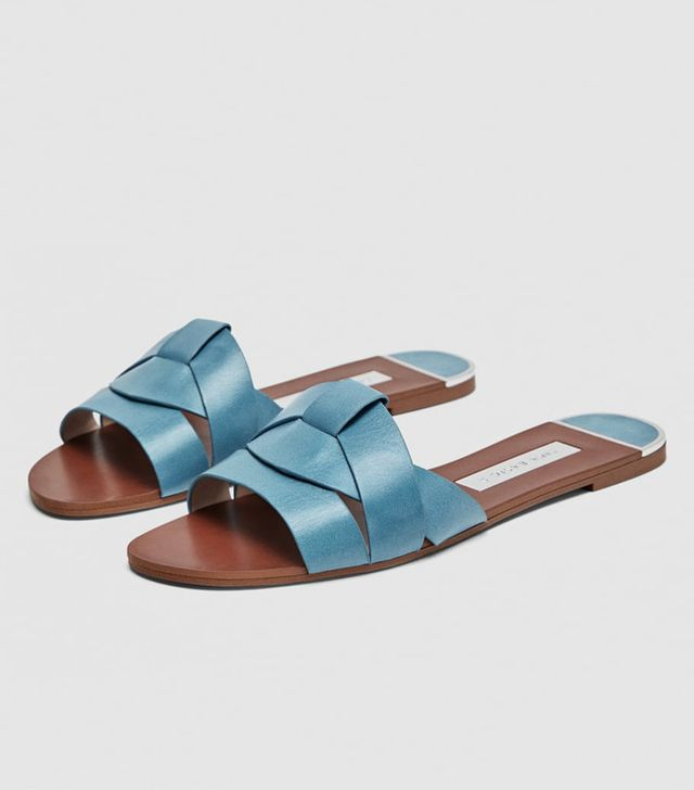 Zara crossover leather sandals: Blue