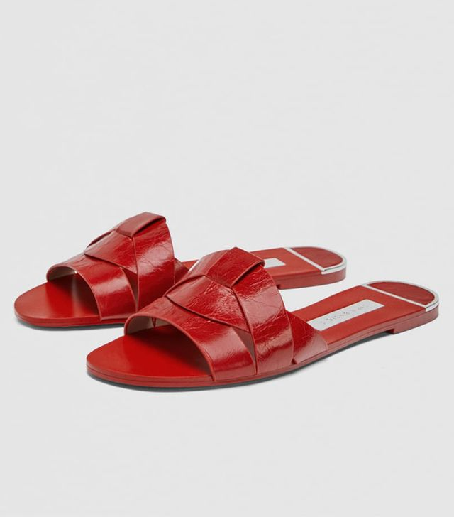 Zara crossover leather sandals: Red