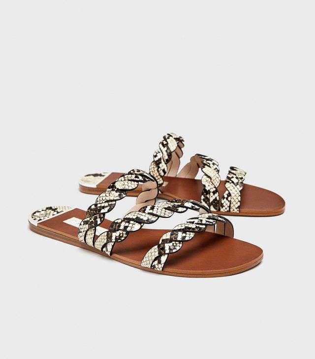 Zara Sandals With Braided Animal Print Strap
