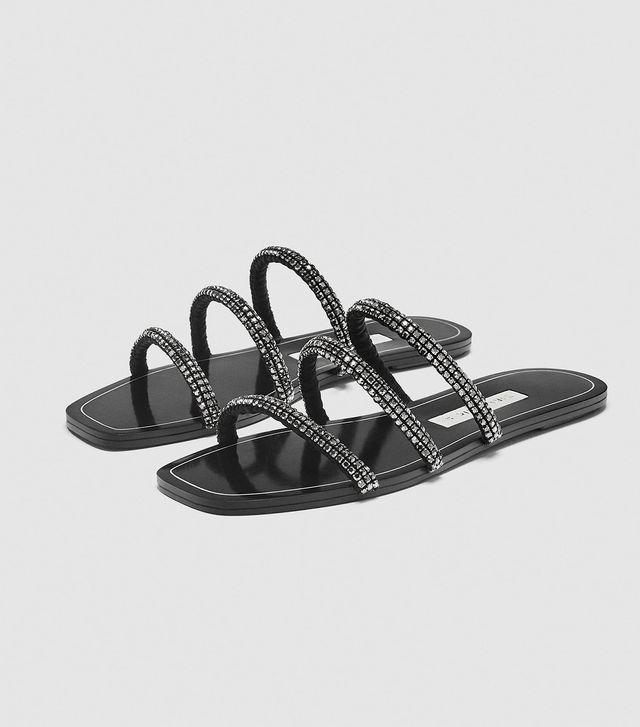 Zara Slides With Shiny Tubular Straps