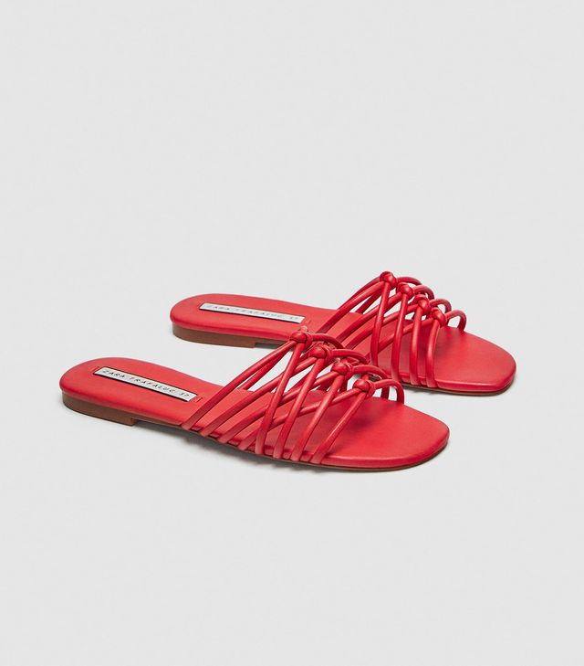 Zara Crossed Straps Flat Sandals