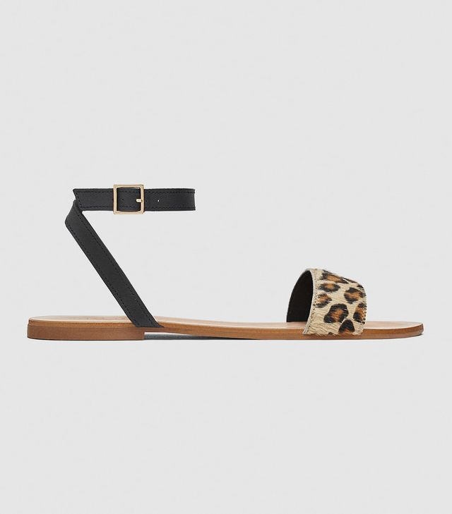 Zara Flat Leather Sandals With Leopard Print Strap