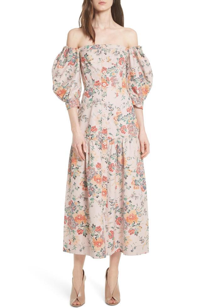 Marlena Off The Shoulder Floral Midi Dress