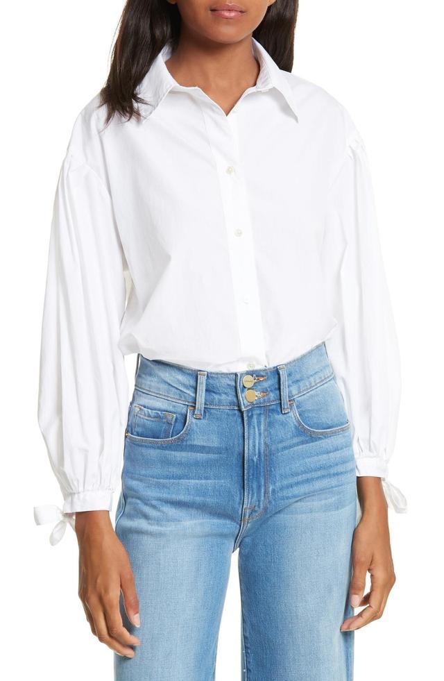 Women's Frame Tie Cuff Cotton Shirt
