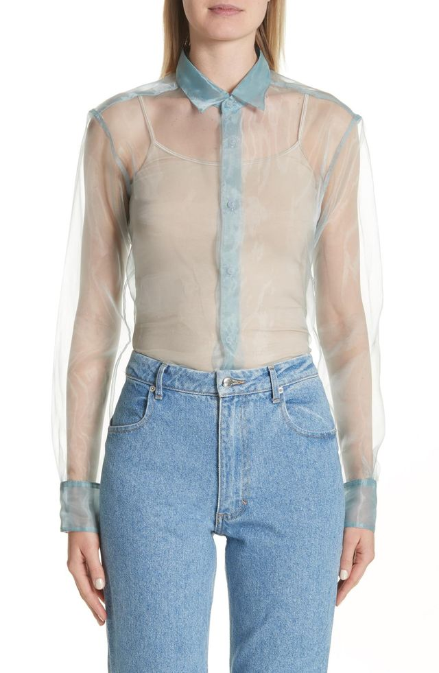 Women's Eckhaus Latta Iridescent Sheer Organza Shirt