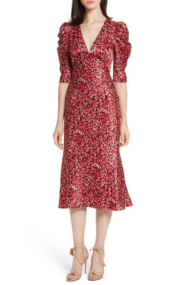 Women's Saloni Colette Puff Sleeve Silk Dress