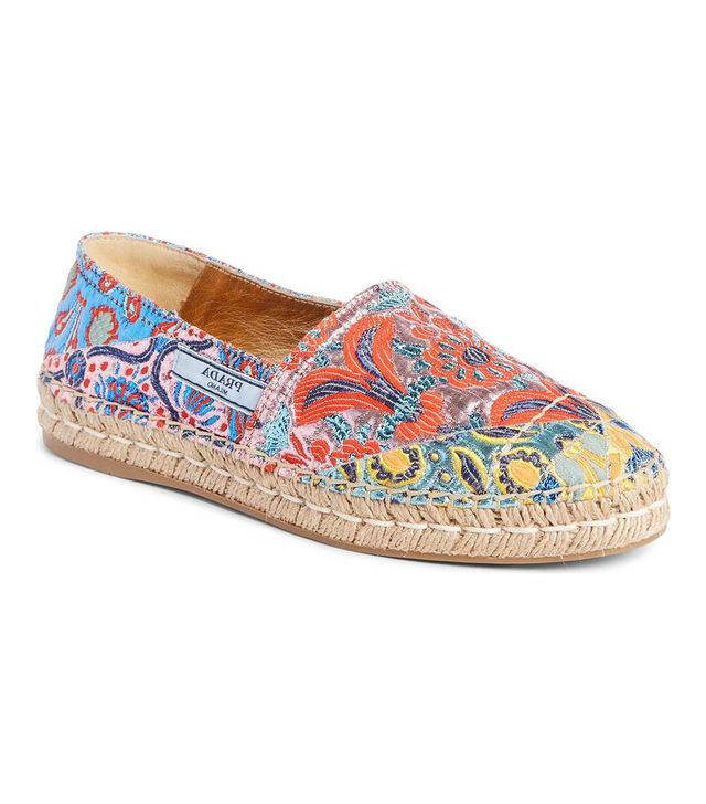 Prada Floral Embroidered Espadrille Flats