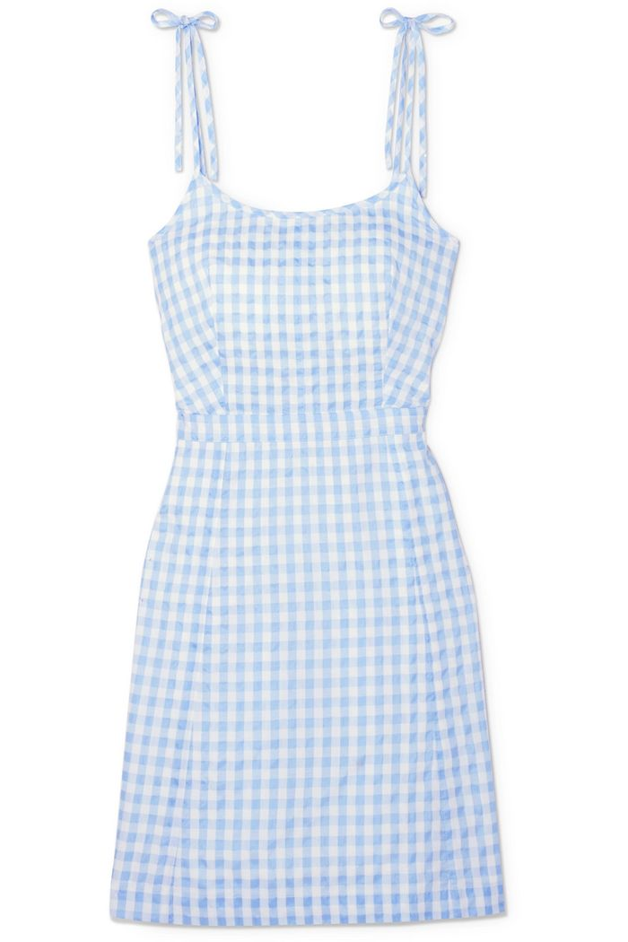 Gingham Cotton-blend Mini Dress