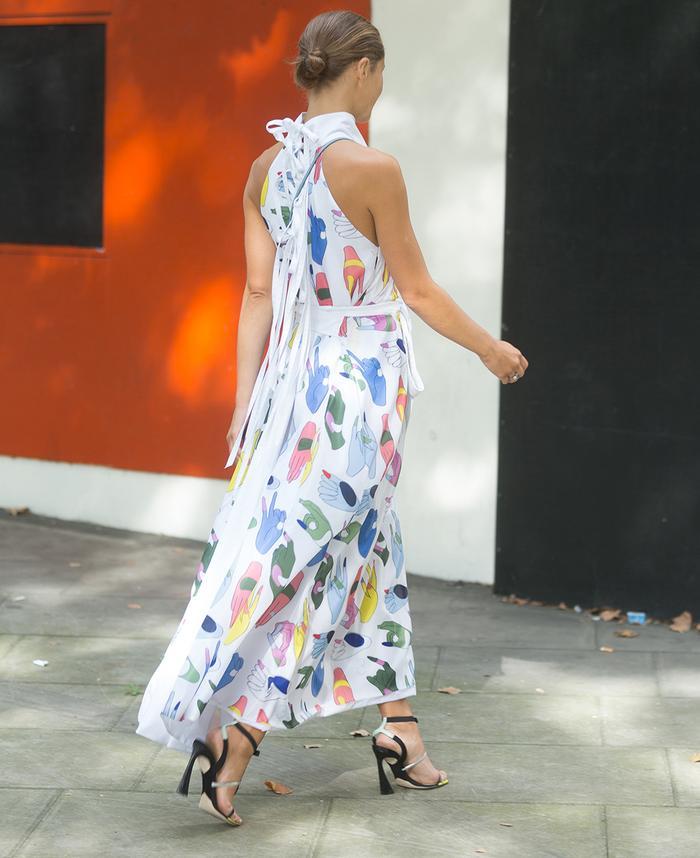 Ukraine fashion brands: Daria Shapovalova wearing a beautiful dress from Kiev-based designer Anton Belinskiy