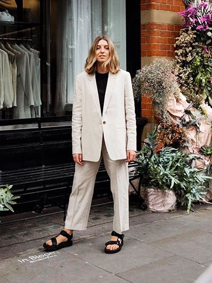 summer work outfits: brittany bathgate in a linen suit