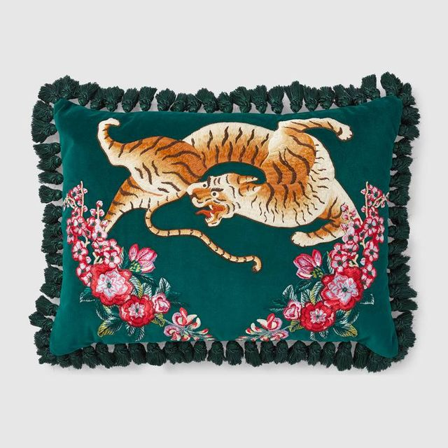 Gucci Velvet Cushion With Tiger Emroidery