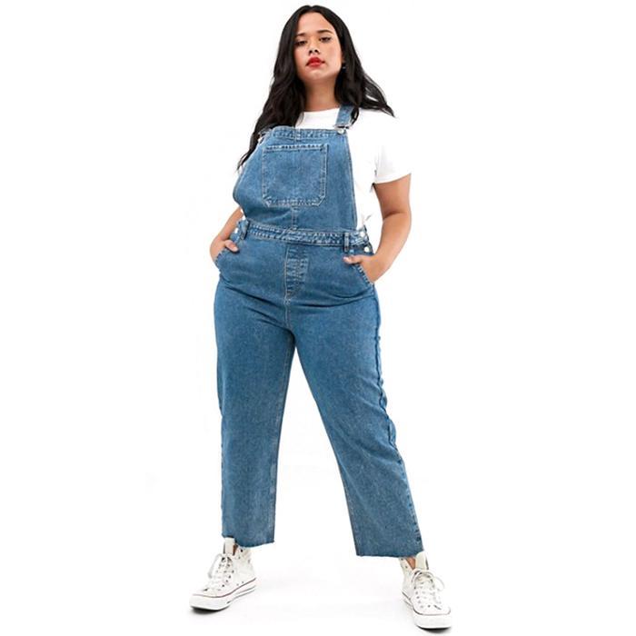 Doll Clothes-Distressed-Look Denim Overalls,Blue Plaid Shirt