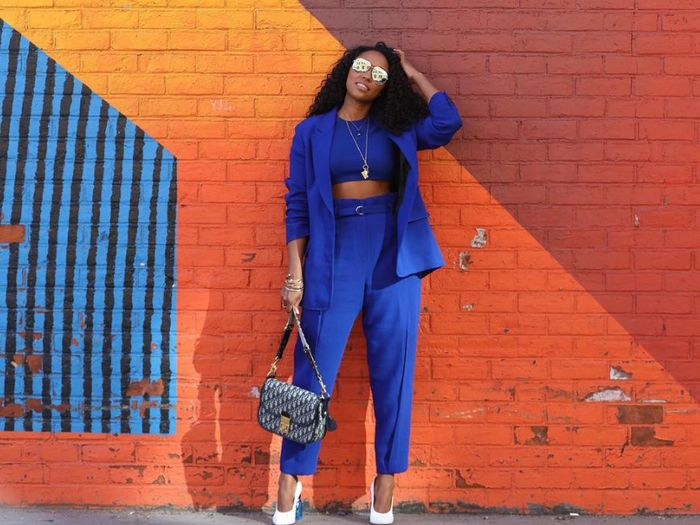 all blue outfits suiting crop top