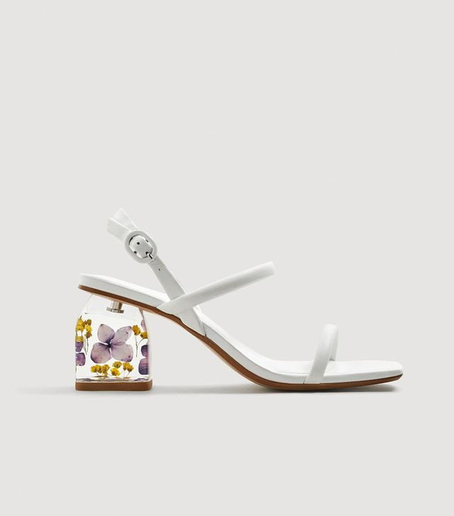 Mango Flower Heeled Leather Sandals
