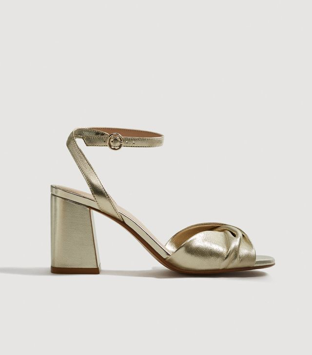 Mango Metallic Leather Sandals