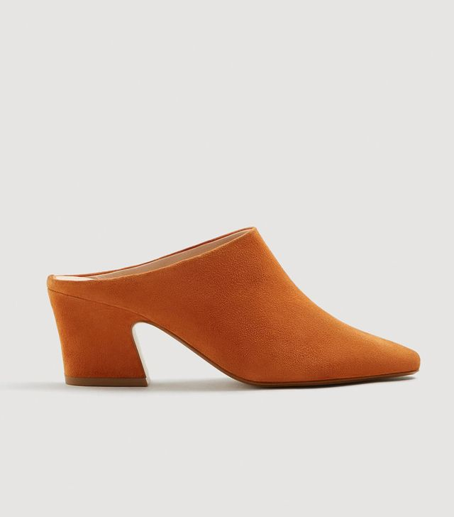 Mango Leather Heel Mules