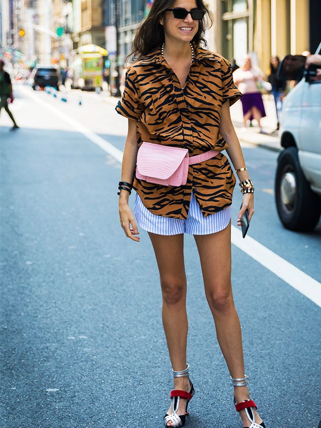 How to Wear Shorts: PJ Shorts With a Loose Shirt and High Heels for the Mix 'n' Match Look