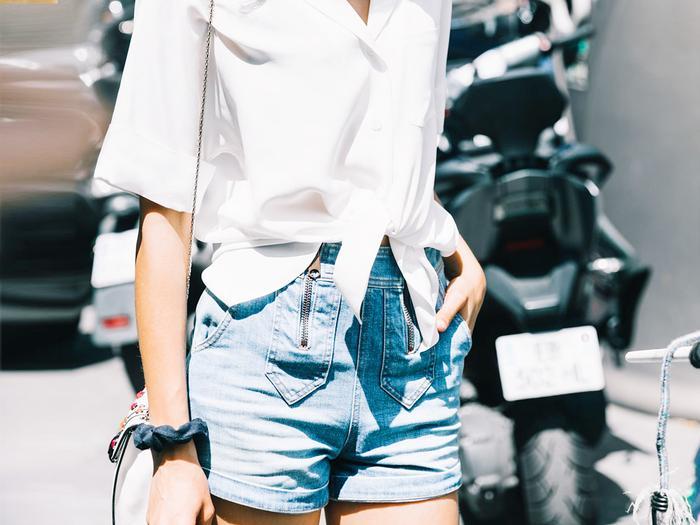 Stylish white short outfits