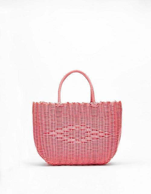 Pink Woven Beach Bag