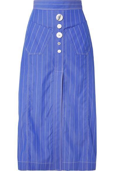 Aggie Embellished Pinstriped Cotton-poplin Midi Skirt