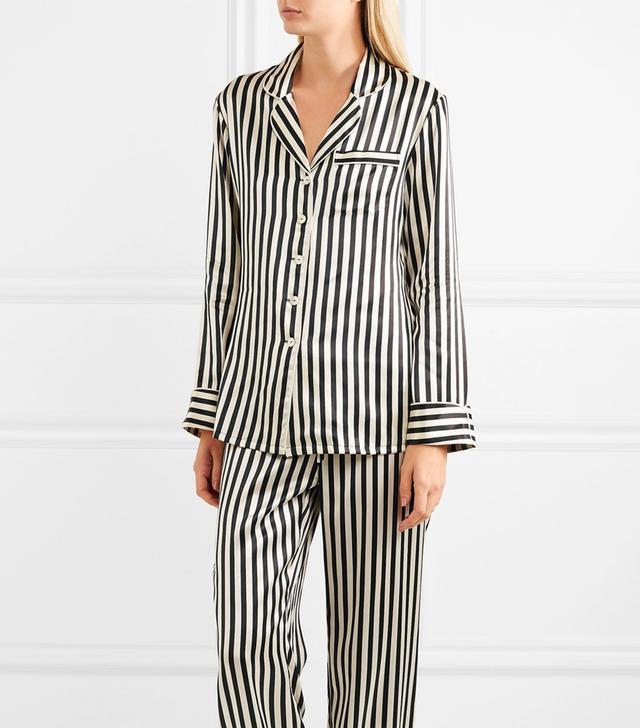 Lila Striped Silk-satin Pajama Set