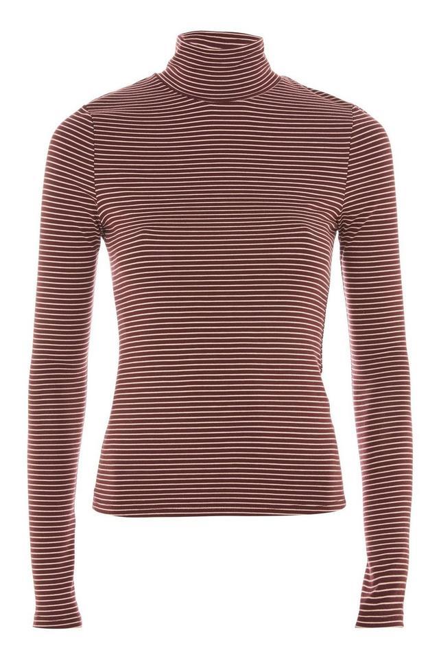 Topshop Stripe Fine Ribbed Funnel Neck T-Shirt