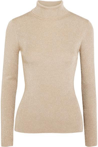 3.1 Phillip Lim Metallic Ribbed-Knit Turtleneck Sweater
