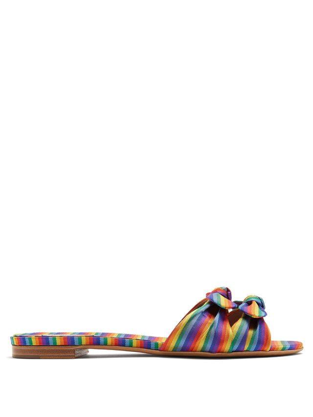 Cleo rainbow-striped bow slides