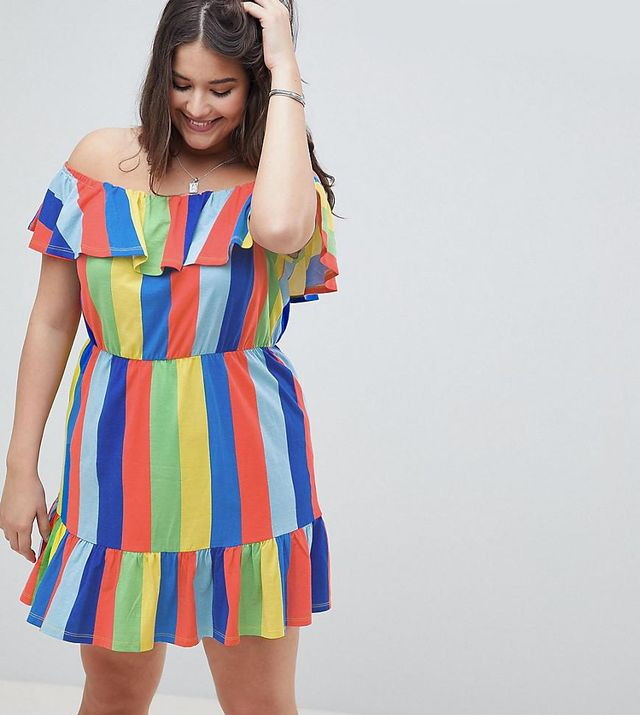 ASOS DESIGN Curve off shoulder sundress with tiered skirt in rainbow stripe