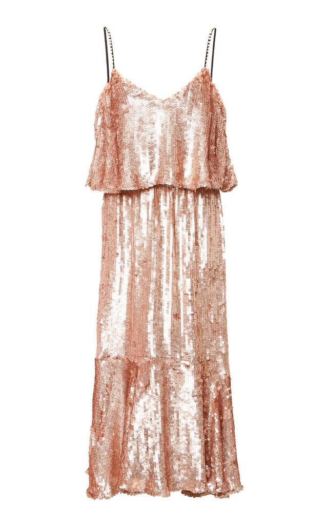 M'O Exclusive Champagne Castle Sequin Georgette Dress
