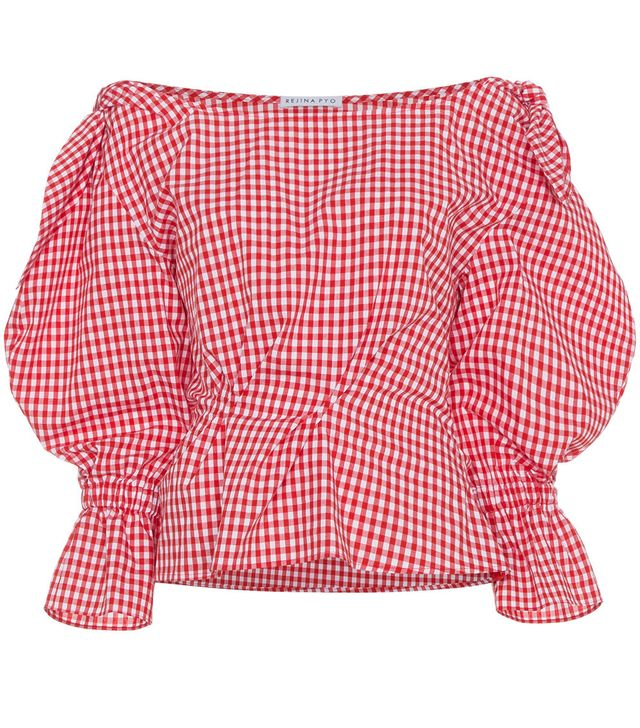 Michelle gingham puff sleeve blouse
