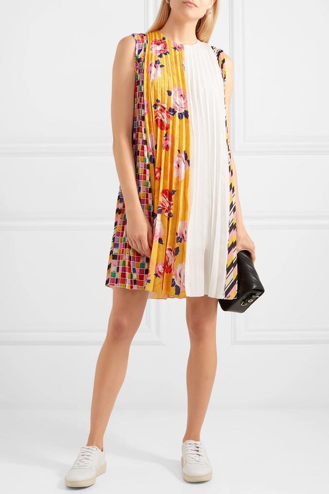 MSGM Pleated Printed Crepe Mini Dress
