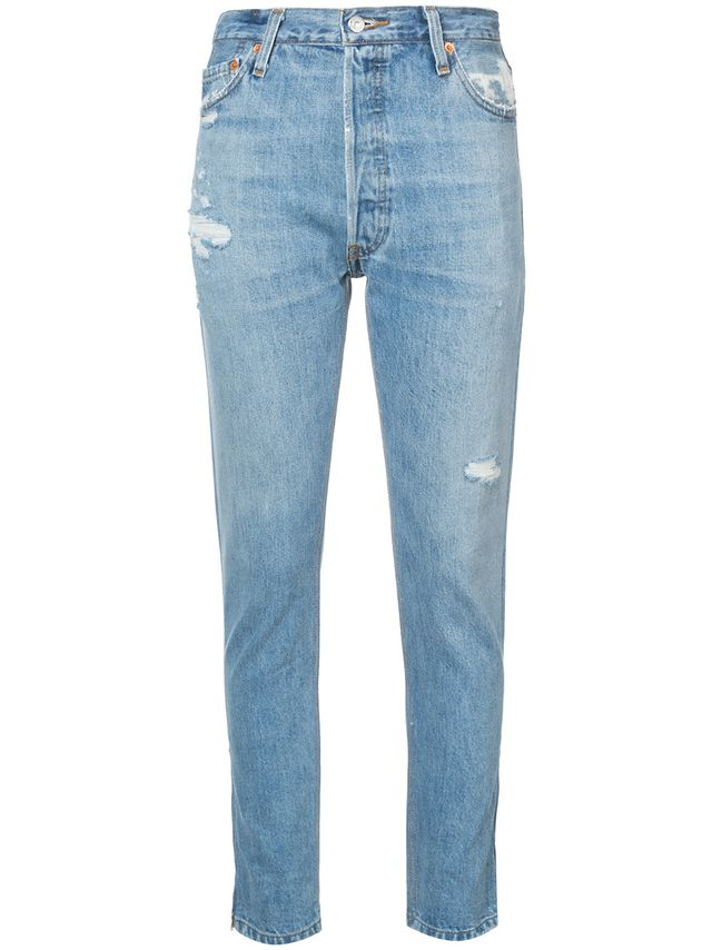 Re/Done Distressed Reworked Slim Jeans