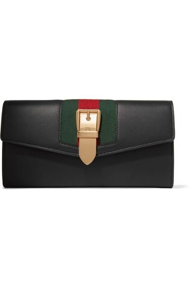 Sylvie Canvas-trimmed Leather Continental Wallet
