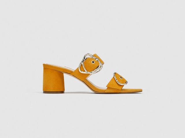 Zara Leather High Heel Mules With Buckles
