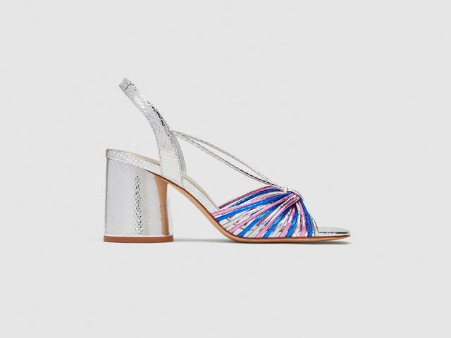 Zara Silver Strappy High Heel Sandals