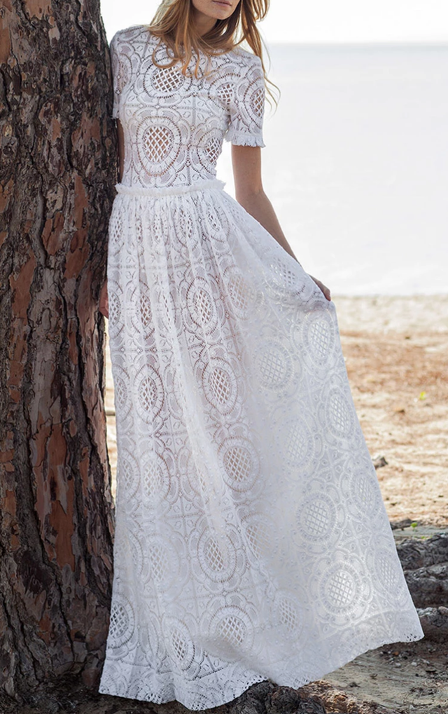 Short Sleeve Cotton Lace Gown