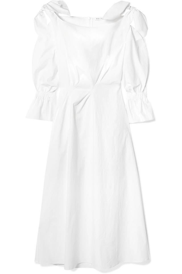 Michelle Bow-Embellished Cotton-Blend Midi Dress