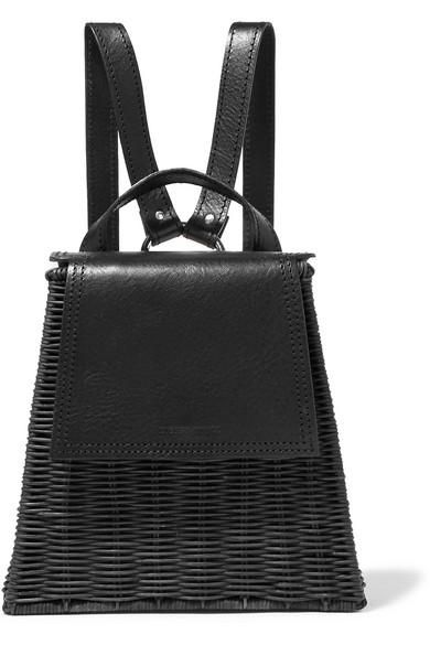Tixing Tall Rattan And Leather Backpack