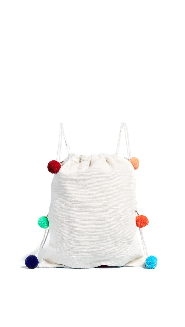 Pom Pom Drawstring Backpack