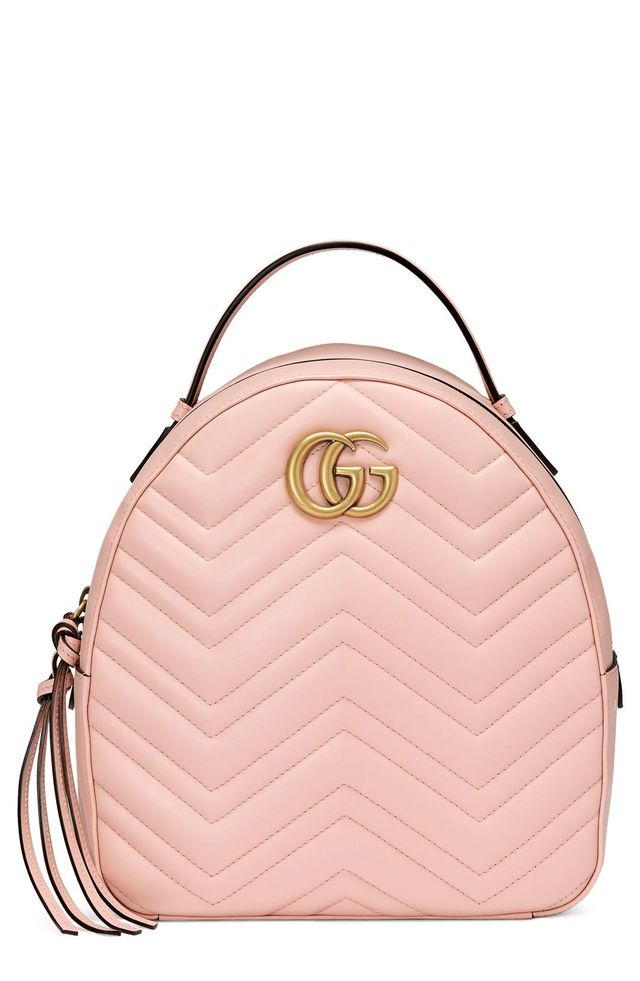 Gg Marmont Matelasse Quilted Leather Backpack - Pink