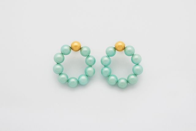 Mirit Weinstock Mint Pearls Hoops